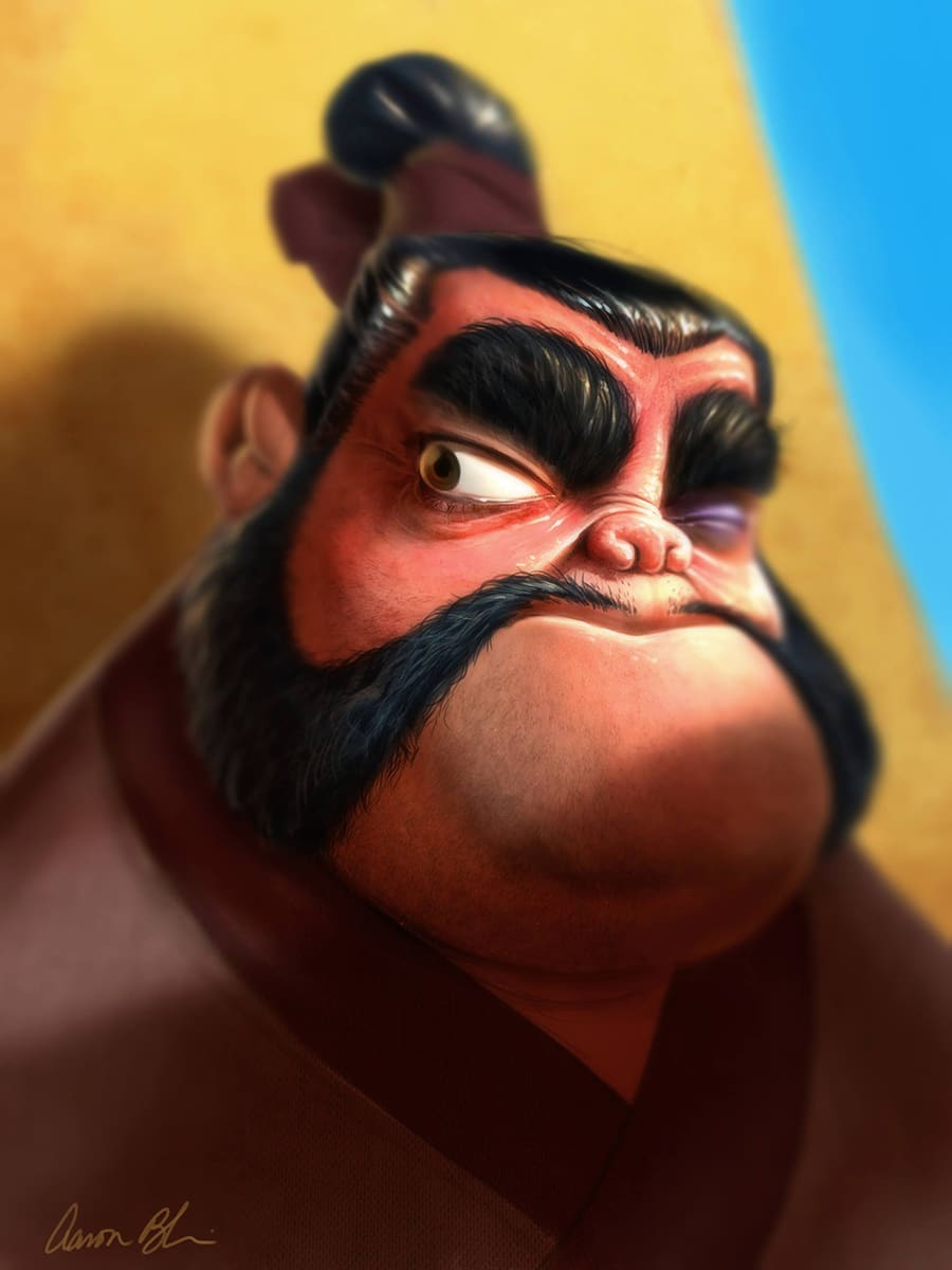 Timelapse Digital Painting Of Yao From Mulan In Photoshop