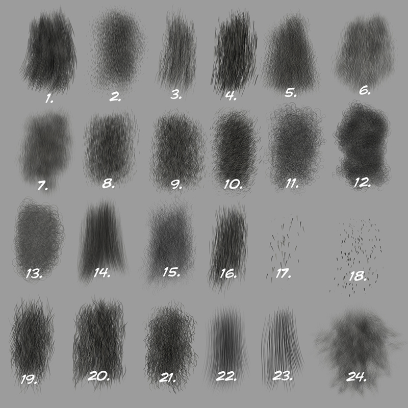 Custom Photoshop Brushes Set 5 Directional Fur Brushes