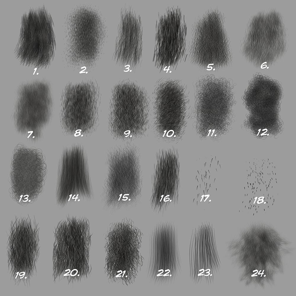 Custom Photoshop Brushes Set 5 Directional Fur Brushes
