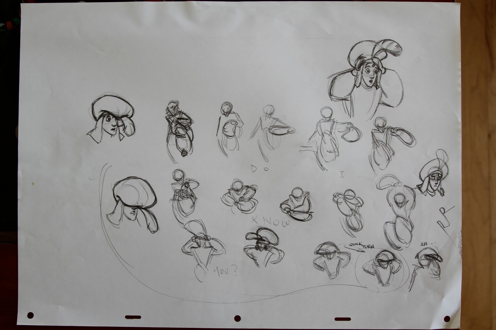 The first thing to do when beginning any animated scene is to thumbnail.  Thumbnailing is to do little drawings exploring the posing and acting of a  ...